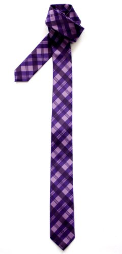 Retreez Tartan Plaid Patterns Woven Microfiber Skinny Tie Necktie - 10 Colors