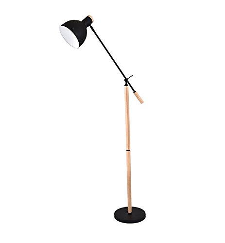 ZHDC® Bügeleisen Stehleuchte, Modern Einfachheit Nordic Schlafzimmer Nachttisch Wohnzimmer Studie Couchtisch Einzelne Kopf führte lesen E27 * 1 High 100cm Fußschalter Stehlampe (Farbe : Schwarz)
