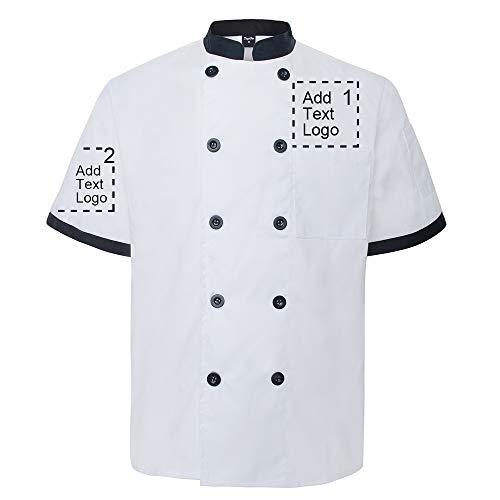 TopTie Personalizado Chaqueta de Chef con Manga Corta, Uniforme de Cocinero Transferencia de Calor Bordado
