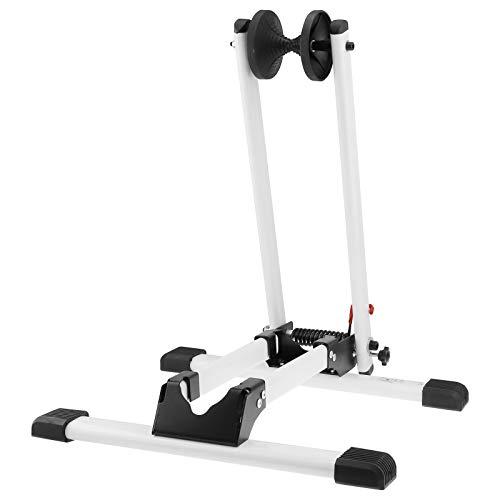 WELLGRO® Fahrradständer - für Vorderrad oder Hinterrad, Stahl, weiß, platzsparend zusammenklappbar