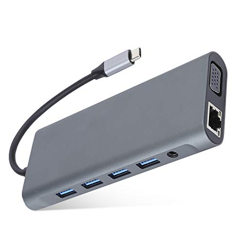 Portable USB Hub Expansion Dock USB Data Hub Splitter,12 in 1 USB 3.0 for HDMI VGA PD AUX,USB Hub for OS X Laptop LCD TV Projector Earphone Speakers Docking Station Adapter