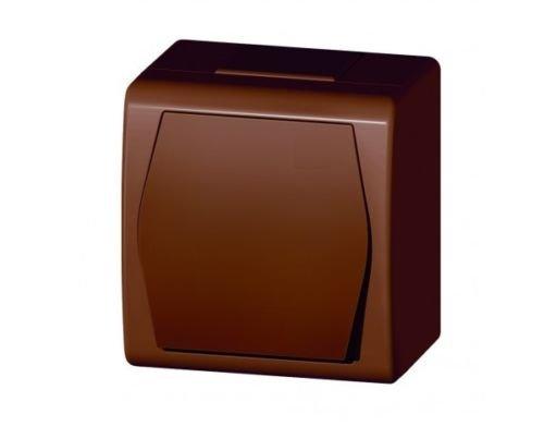Naka24 - Regleta para entornos húmedos (IP44, interruptor 1001-20), color marrón