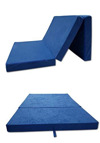 Odolplusz Colchón plegable – Fabricado en la UE – Se puede utilizar como colchón para invitados (azul, 120 x 200 cm)