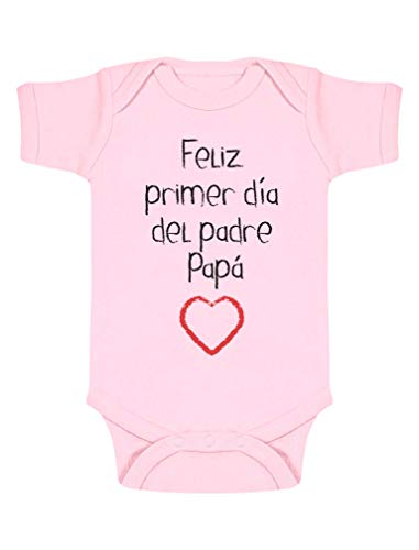 Body de Manga Corta para bebé - Regalo Padre Bebe - Feliz Primer Día del Padre - 3-6 Mes Rosa