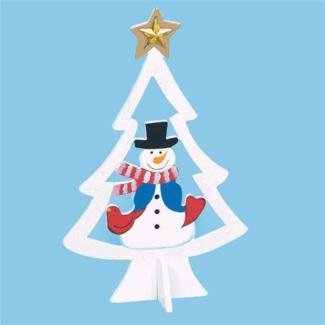 Premier Decorations 25cm Wooden Christmas Tree with Character - White with Snowman