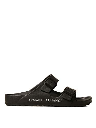 Armani Exchange Sydney Pool Slide, Sandal Uomo, Black OPT White, 42 EU
