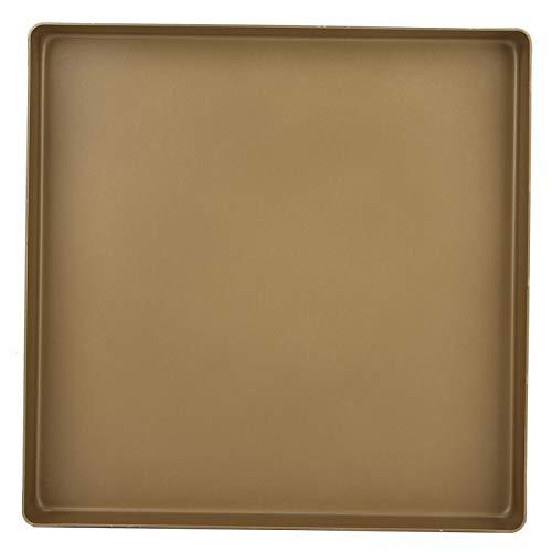 Bandeja para hornear antiadherente de aleación de aluminio EVTSCAN, bandeja para hornear antiadherente de forma cuadrada de aleación de aluminio dorado de 28x28x3cm, bandeja para hornear pan y pizza,