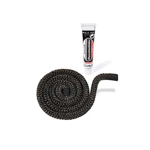 LANZZAS Cuerda aislante para chimeneas y hornos – Ø 6 mm, longitud: 0,5 m – Cinta de cristal para puertas de chimenea – resistente al calor hasta 550 °C – con adhesivo de montaje ignífugo