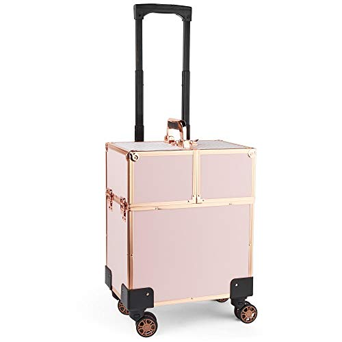 Beautify Beauty Makeup Train Case Travel Trolley Cosmetic Bag Rolling Organizer Vanity Box - Luggage Suitcase for Hairdresser, MUA, Nail Artist - Rose Gold