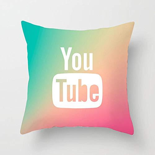 LPLH Nueva Funda de Almohada You Tube Funda de Almohada Funda de Almohada Decorativa cojín para Sala de Estar sofá-45X45CM Funda de Almohada_8