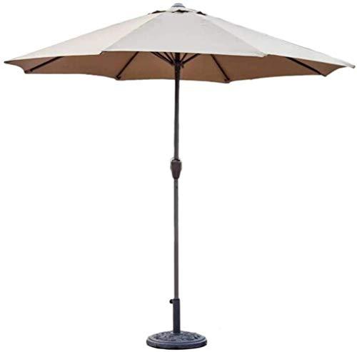 MISS KANG Sombrillas para exteriores de 9 pies para patio al aire libre, paraguas de mesa con manivela, refugio portátil para terraza de jardín, Qingchunw (color: caqui, tamaño: 9 pies/270 cm)