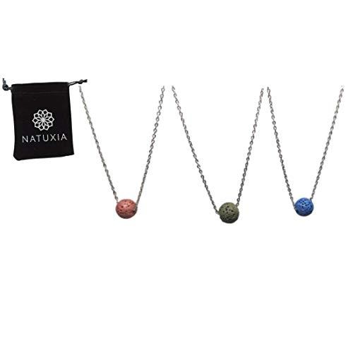 Natuxia Set d 3 Collares para Aromaterapia, Piedra Volcánica de Colores: Rosa Oscuro, Azul y Verde