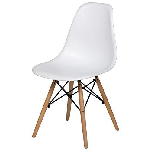 Cadeira De Jantar Charles Eiffel Eames Dsw Base Madeira Wood - Marca Inovartte - Cor Branca