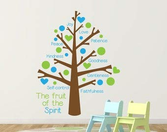 Fruit of The Spirit Vinyl Wall Decal Sticker Tree, Baby Nursery Tree Wall Decorations, Sunday School Church Classroom Decor, Thank You Gift