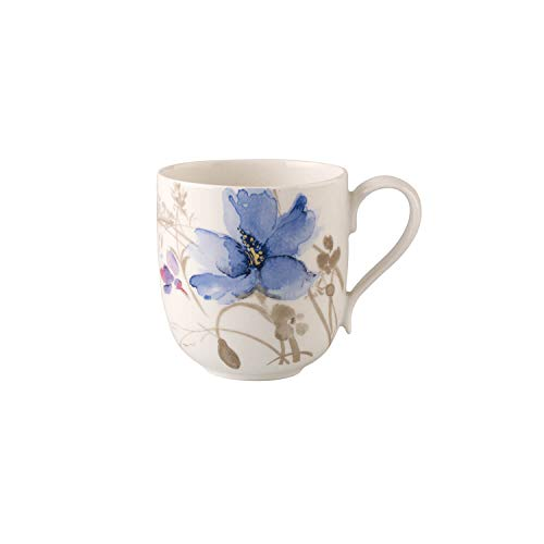 Villeroy & Boch Mariefleur Gris Kaffeebecher, 350 ml, Höhe: 9 cm, Premium Porzellan