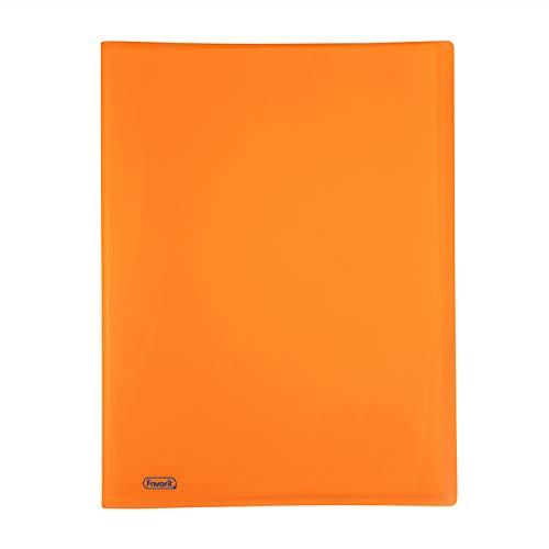 Favorit 400102287 Portalistino Neon con 40 Buste Formato Interno 22X30 cm, Arancio Fluo, arancione