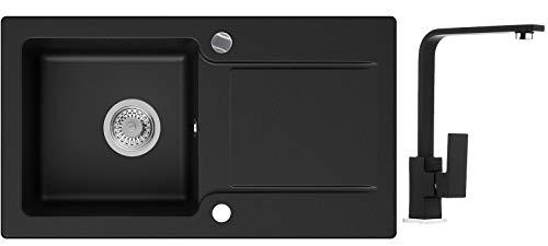 Küchenspüle Schwarz 78 x 44 cm, Spülbecken + Wasserhahn Küche + Siphon Automatisch, Granitspüle ab 45er Unterschrank in 5 Farben mit Armatur Varianten, Einbauspüle von Primagran