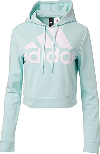 adidas Women's Cropped French Terry Hoodie - Clear Mint, X-Large