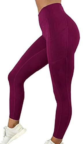 H&E - Mallas de Yoga para Mujer Rojo Burdeos M