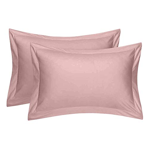 Comfort Beddings Kissenbezüge, 100 % ägyptische Baumwolle, Fadenzahl 400, 2 Stück, Farbe: Blush Pink (Standardgröße 50 x 75 cm)