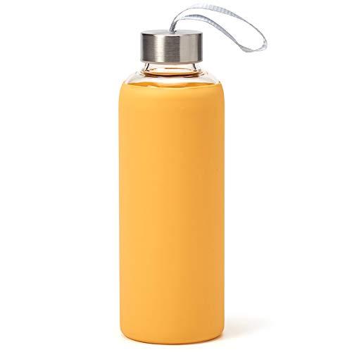 EZOWare Botella de Agua de Cristal, 550ml Sport Botella Reutilizable de Vidro Borosilicato con Funda Siliconia y Tapa de Acero Inoxidable - Amarillo