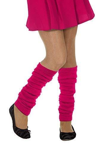 Jannes Deluxe Strick-Stulpen Neon Pink für Hippie Damen oder 80er Kostüm