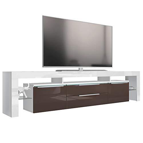 Vladon TV Board Lowboard Lima Nova V2, Korpus in Weiß matt/Front in Schoko Hochglanz