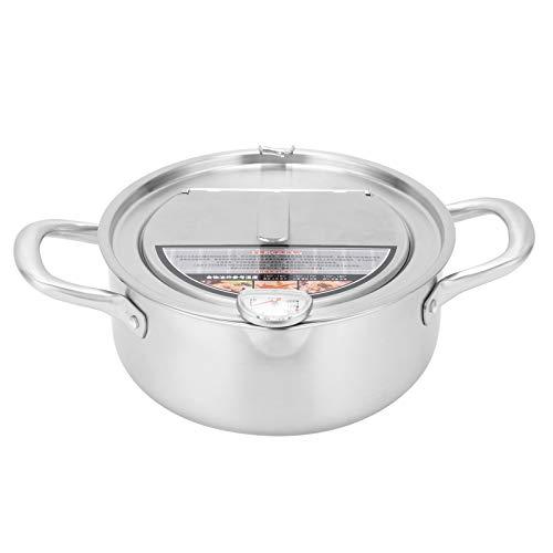 Olla de Acero Inoxidable 304 con Tapa de Medidor de Temperatura, Olla de Freidora de Cocina con Escurridor de Goteo de Aceite, Olla de Freidora Profunda Tempura, para Cocinar en la...