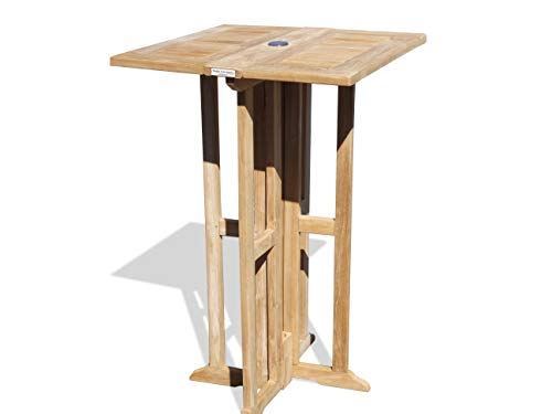 """Windsor's Premium Grade A Teak Bimini 27"""" Square Dropleaf Counter Table (5"""" Lower Then Bar Height),Use w 1 Leaf Up or 2, Makes 2 Different Tables, 38"""" H,World's Best Outdoor Furniture. Assembled"""