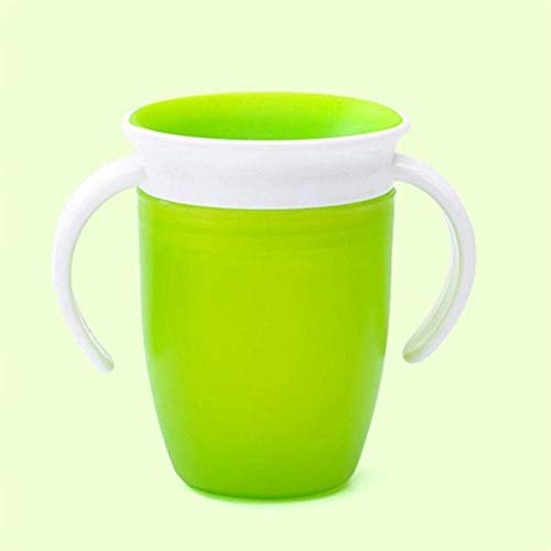 360 grados a prueba de fugas a prueba de fugas Niños de alimentación de agua Botella de alimentación Bebé rotado Aprendiendo Taza de plástico para beber con mango doble (Color : Verde)