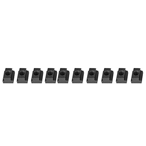 Tuerca duradera de ranura en T, chapado en negro, acero al carbono, acabado en óxido de acero, 10 piezas