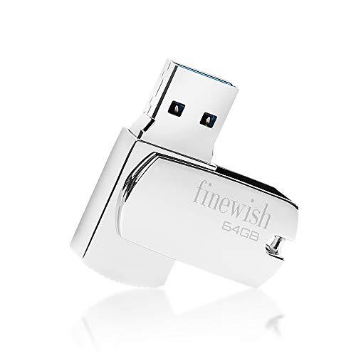 Chiavetta USB 64 GB 3.0, Pennetta USB 64 GB 3.0 Metallo Pen Drive 64GB Impermeabile Penna USB 64 giga Memoria Esterna PC (Argento)