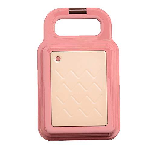 Kleine wafelijzer, Non-Drijvende bakplaat Tweezijdige Verwarming Ontbijt Machine Anti-aanbaklaag gemakkelijk schoon te maken Geschikt voor wafels en sandwiches,Pink