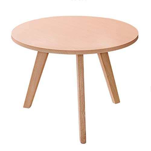 Tables basses en Bois Ronde Petite Chambre Petit Appartement Balcon Mini Table Salon créative (Color : Wood, Size : 60 * 60 * 45cm)