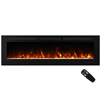 """Masarflame 72"""" Recessed Electric Fireplace Insert, 5 Flame Settings, Log Set or Crystal Options, Temperature Control by Touch Panel & Remote, 750/ 1500W Heater"""