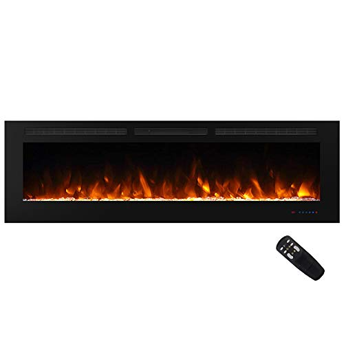 Masarflame 72' Recessed Electric Fireplace Insert, 5 Flame Settings, Log Set or Crystal Options, Temperature Control by Touch Panel & Remote, 750/ 1500W Heater