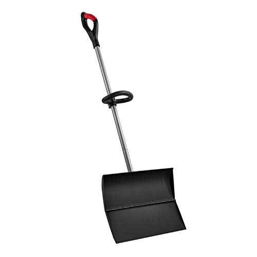"ORIENTOOLS Snow Shovel with Ergonomic Handle Grips and Strong Blade, Strain-Reducing Pusher Perfect for Shoveling or Pushing Snow, Soils and Grains. (20"" Blade)"