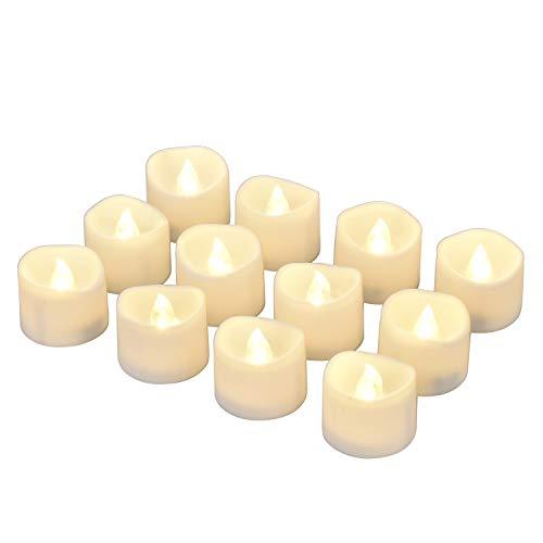 LED Kerzen, Willingood 12 Stück LED Tee Lichter Flammenlose Kerzen mit Timer und Automatikmodus: 6 Stunden an und 18 Stunden aus; Warm-Weiß, 3.2x3.6cm