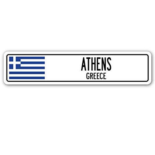 TNND New Athens Griechenland Straßenschild, griechische Flagge, Stadt Land Straße, Gi Straßenschild, 10,2 x 40,6 cm