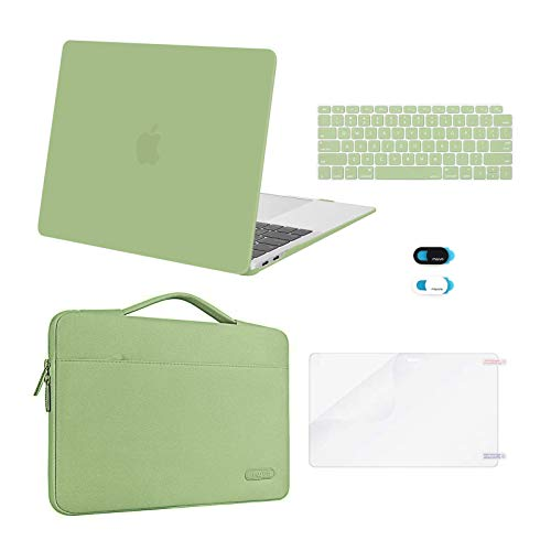 MOSISO MacBook Air 13 inch Case 2020 2019 2018 Release A2337 M1 A2179 A1932,Plastic Hard Case&Bag&Keyboard Skin&Webcam Cover&Screen Protector Compatible with MacBook Air 13 inch Retina, Avocado Green