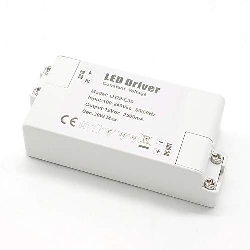 VARICART IP44 12V 2.5A 30W Trasformatore LED, Alimentatore di Commutazione AC DC Regolamentato Universale, Adattatore Tensione Costante per Strisce CCTV Lampada G4 MR11 MR16 GU5.3 (Confezione da 1)