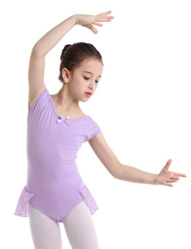 iEFiEL Girls Cotton Cap Sleeves Ballet Dance Gymnastics Leotard Skirt Dancewear Jumpsuit Bodysuit Lavender 4-5 (Tag.M)