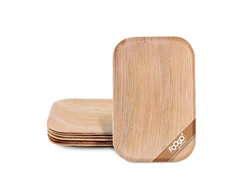 FOOGO Green 25 Bandejas de hoja de palma Desechable|25cmx15cm Rectangular Servir Ensalada|Postre, Aperitivo|Vajilla Ecológico Biodegradable Duro|Como Platos Bambu, Bandejas Plastico Aluminio