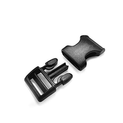 Ganzoo Juego de 5 cierres de clic de plástico, extremadamente estable, 3/4', cierre de clip, para collares de perros, mochila, color: negro