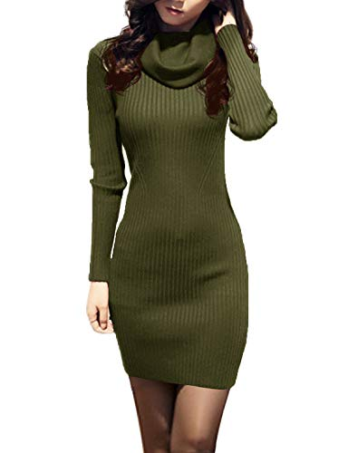 v28 Women Cowl Neck Knit Stretchable Elasticity Long Sleeve Slim Fit Sweater Dress (S,ArmyGreen)