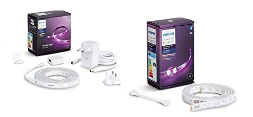 Philips Hue White & Color Ambiance Indoor LightStrips+ 2m base connectique, compatible Bluetooth + Philips Hue White & Color Ambiance Indoor LightStrips+ 1m extension et rallonge