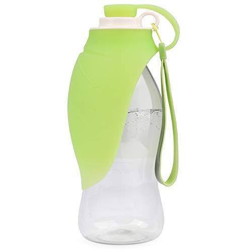 Idepet Botella de Agua para Perros Contenedor portátil de Comida para Mascotas Dispensador de Botellas de Comida para Perros Tazón de Bebidas para Mascotas Botella Viaje para Perros (Verde)