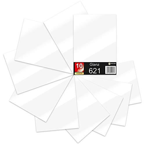 10 x Din A4 Bögen Plotterfolie 621/631 Selbstklebende Folie im Set Vinyl zum Plotten DIY Bastelfolie Sticker Beschriftung Aufkleber 29,7x21cm (Weiß matt, 10er Set)