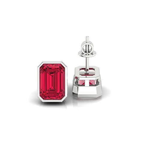 Diamondrensu 1.54 CTW Emerald Cut Red Garnet Bezel Set Stud Earrings, Wedding Earrings for Women, Screw Back Earrings, Lab Created Red Garnet Emerald Studs, 925 Silver