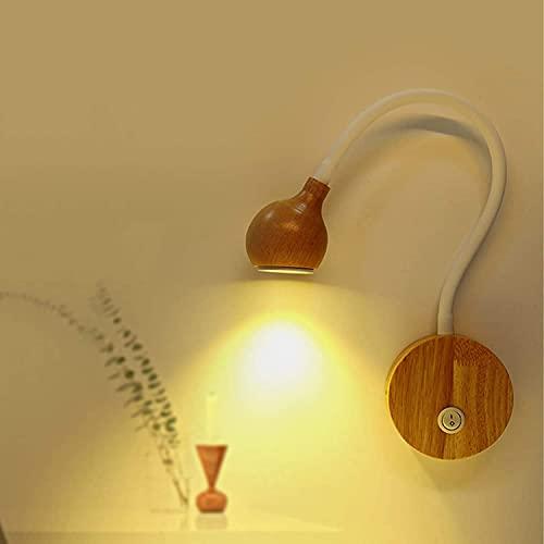 QEGY Lámpara de pared flexible de cuello de cisne con interruptor, DIRIGIÓ Lectura de la pared Luz de madera 360 ° Ajustable, 3W Blanco/Negro Lámpara de noche montada en la pared, para el dormitorio